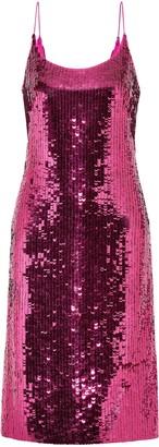 Oscar de la Renta Sequined Silk-blend Chiffon Dress