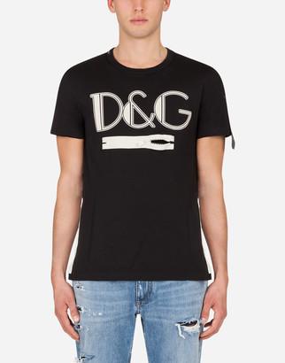 Dolce & Gabbana T-Shirt With Print And Zipper