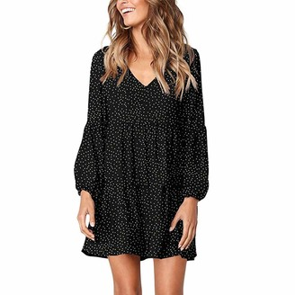 TOPKEAL Womens Teenage Girls Mini Dress Sweatshirt Tops Sweater Pullover Tunic Ruffle Loose Swing Dress Plus Size Dot Print Long Sleeve Tees Elegant T-Shirt Blouse Jumper (Wine L)