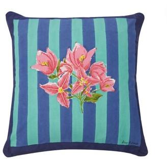 Issimo X Lisa Corti - Bougainvillea Stripes Cotton Cushion - Blue Stripe