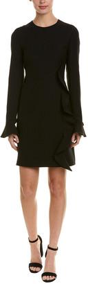 Valentino Ruffle Wool & Silk-Blend Shift Dress