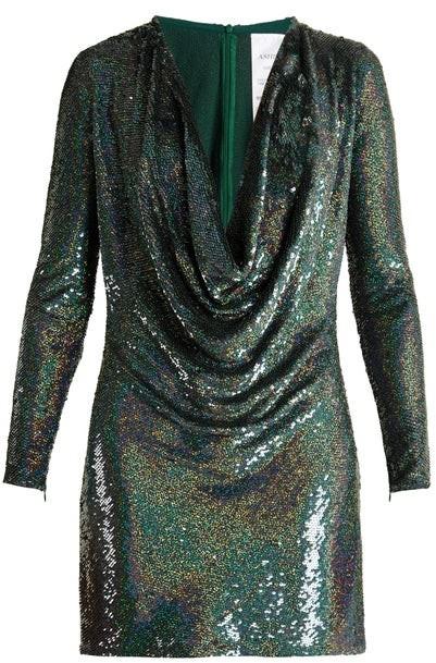 Ashish Sequin-embellished Draped-front Silk Mini Dress - Womens - Dark Green