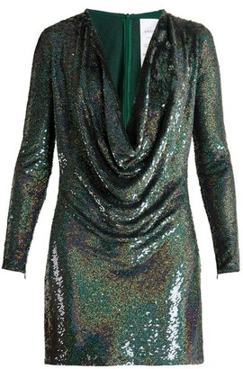 Ashish Sequin Embellished Draped Front Silk Mini Dress - Womens - Dark Green