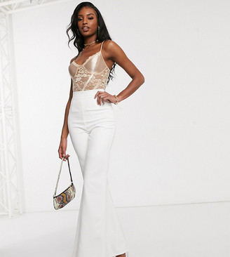 Club L London Tall tailored flare trouser in white