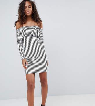 Bardot Asos Tall ASOS DESIGN Tall long sleeve bodycon dress in stripe-Multi