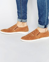 Frank Wright Woven Slip On Sneakers In Suede