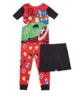 AME Sleepwear Little Boy's and Boy's Avengers Three-Piece Tee, Shorts & Pants Pajama Set