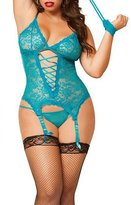 TopTie Women Lace Babydoll Lingerie Garter Cami Chemise and G-string Set - ,2XL