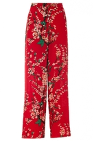 Quiz Red Crepe Floral Print Palazzo Trousers