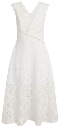 Sandro Paris Lace Leaf Print Midi Dress