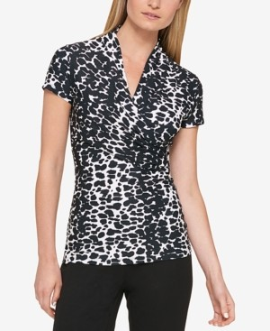 DKNY Petite Animal-Print Draped Surplice Blouse