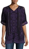 Johnny Was Damask Boxy Tie-Neck Embroidered Top, Deep Plum, Plus Size