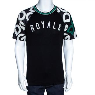 Dolce & Gabbana Black Mania Print Cotton Jersey Crew Neck T Shirt XS