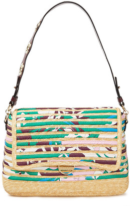 Emilio Pucci Leather-trimmed Printed Twill And Straw Shoulder Bag