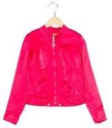 Miss Blumarine Girls' Satin Bomber Jacket
