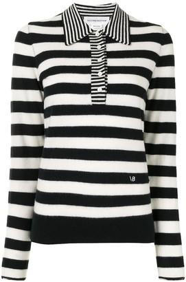 Victoria Beckham Striped Cashmere Polo Top