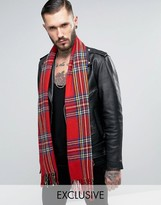 Reclaimed Vintage Inspired Plaid Scarf Red