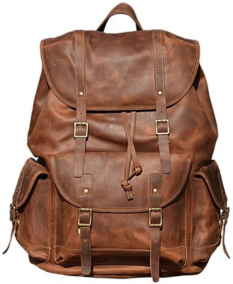 Touri Military Style Leather Backpack In Vintage Brown