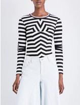 Maison Margiela Stripe-print stretch-cotton top