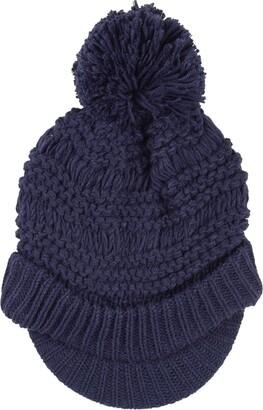 Pia Rossini Ladies Willow Hat Navy Chunky Knit Peak Brim Pom Pom Bobble Winter Accessory