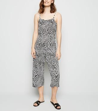New Look Leopard Print Plisse Crop Jumpsuit