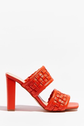 Nasty Gal Womens The Woven Moment Faux Leather Heeled Mules - Orange