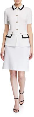 St. John Boucle-Knit Collared Dress