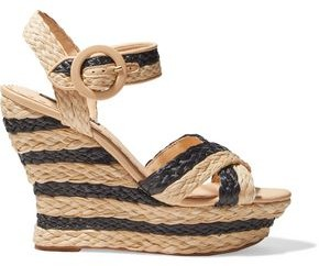 Alice + Olivia Josiey Striped Braided Raffia Wedge Sandals
