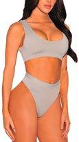 Viottis Women's Straps Plunge Neck Top+ High Waist Cut Thong Bottom L
