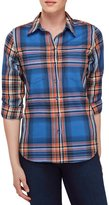Allison Daley Petites Long Roll-Tab Sleeve Plaid Button Front Shirt