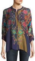 Johnny Was Mardi Oversized Embroidered Georgette Blouse