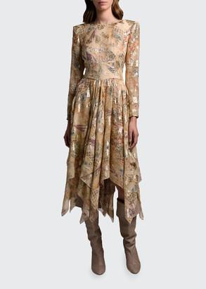 Etro Silk Low-Back Handkerchief Dress
