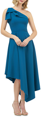 Kay Unger New York Stretch Crepe One-Shoulder Asymmetric Fit-and-Flare Dress