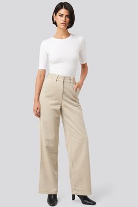 NA-KD Corduroy Wide Leg Suit Pants Beige