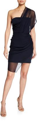 Cushnie Draped-Chiffon Illusion Mini Dress