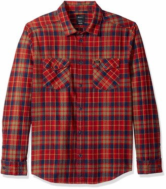 RVCA Men's Watt Plaid Long Sleeve Flannel Orange Small
