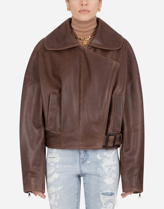 Dolce & Gabbana Jacket In Hammered Leather