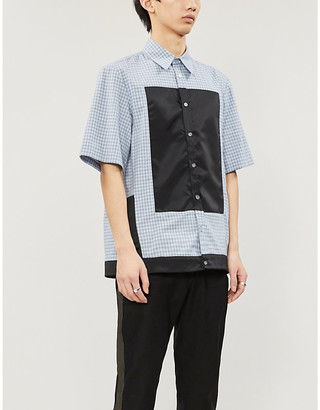 Nicomede Graphic-insert short-sleeved gingham cotton shirt