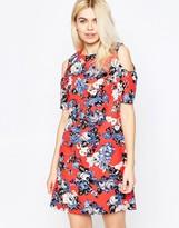 Girls On Film Floral Cold Shoulder Shift Dress