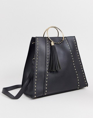 Yoki Fashion structured tote bag with studding-Black