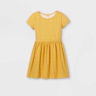Cat & Jack Girls' Printed Knit Short Sleeve Dress - Cat & JackTM Light