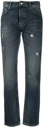 Emporio Armani Distressed-Effect Straight-Leg Jeans