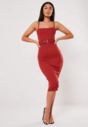 Missguided Rust Rib Belted Cami Bodycon Midi Dress