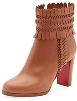 Christian Louboutin Pocabootie Woven Fringe Red Sole Bootie, Brown