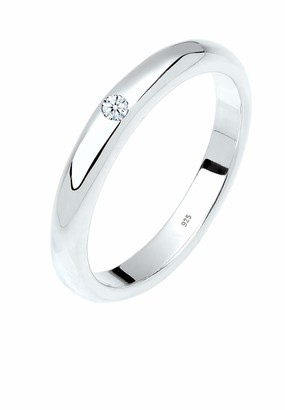 Diamore Women Genuine Jewellery Ring Solitaire Ring Classic 925 Sterling Silver Diamond 0 03 Carat Ring Sizes M N P Q