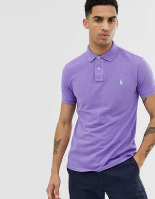 Polo Ralph Lauren player logo pique polo slim fit in lilac marl-Purple