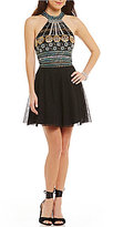 Midnight Doll Beaded Halter Neck Top Two-Piece Fit-and-Flare Party Dress