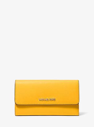 Michael Kors Jet Set Travel Crossgrain Leather Tri-Fold Wallet