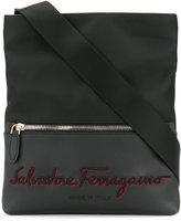 Salvatore Ferragamo embroidered logo messenger bag - men - Leather/Nylon - One Size