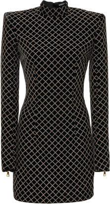 Balmain Glitter Grid Short Velvet Dress